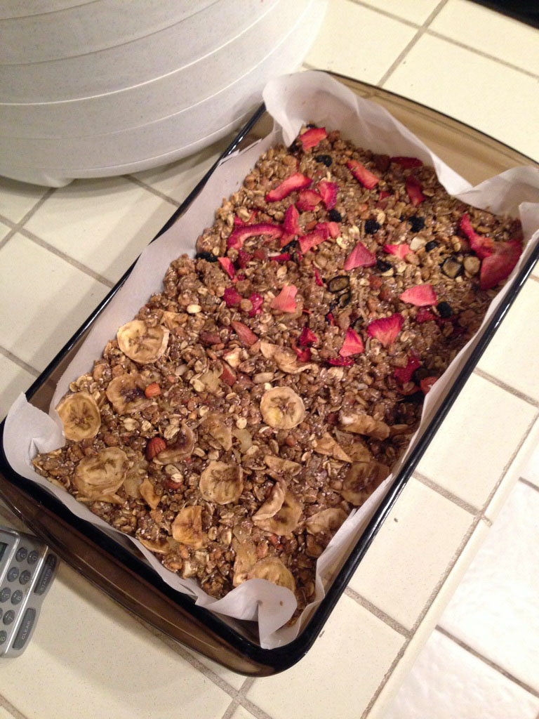 The granola bars: half were strawberry-blueberry, half were banana-pineapple