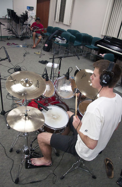 Drummer boyfriend recording some songs!