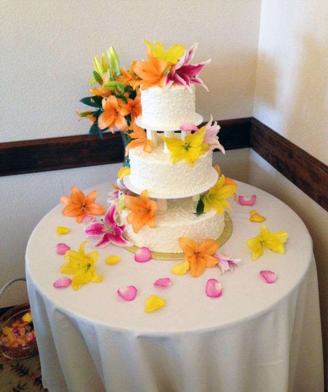 The wedding cake my boyfriend and I decorated!