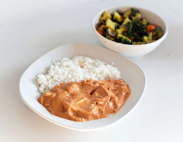 Tofu tikka masala with rice and tons of veggies!
