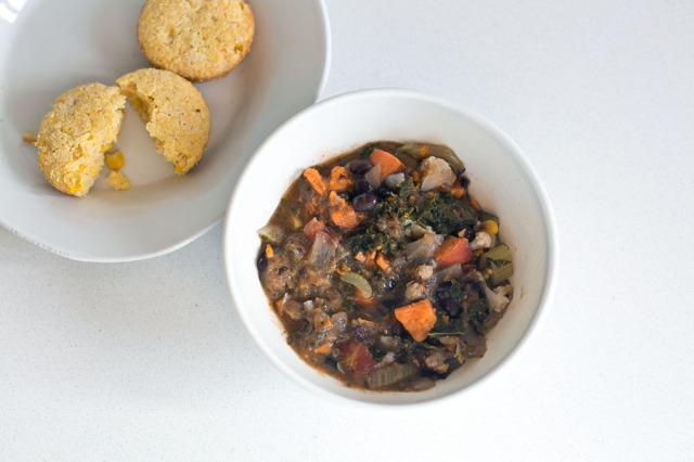 Black bean sweet potato chili with homemade cornbread muffins